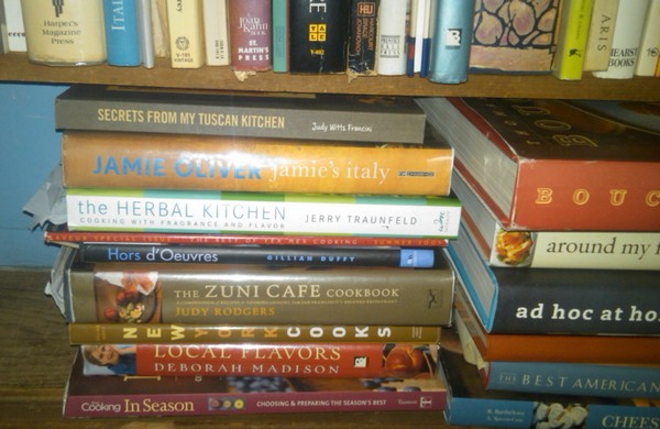 Cookbooks bottom shelf