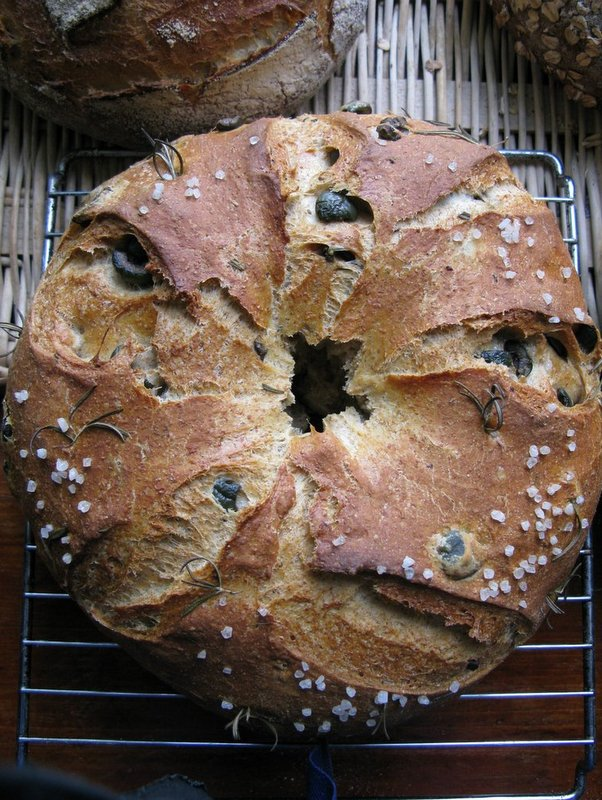 Rye Crown Loaf with Olives and Rosemary