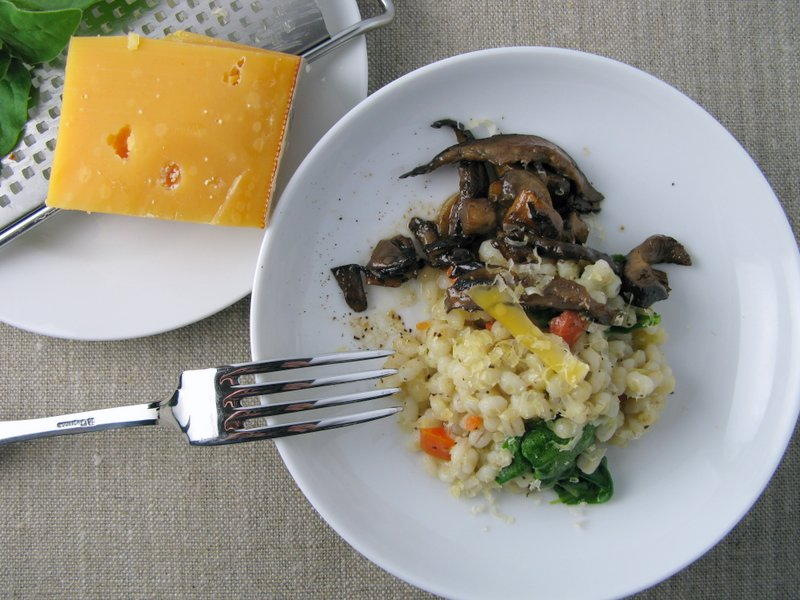 Barley Pilaf, Mushrooms and Aged Gouda