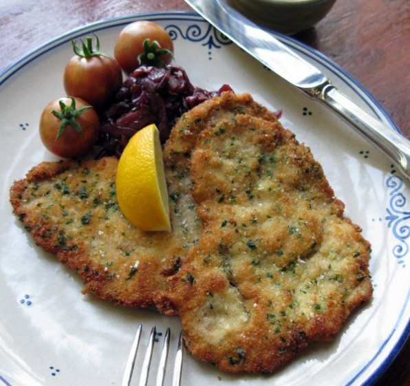 Pork Schnitzel, Apple Balsamic Red Cabbage