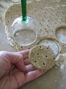 Cutting out ginger whole meal biscuit dough