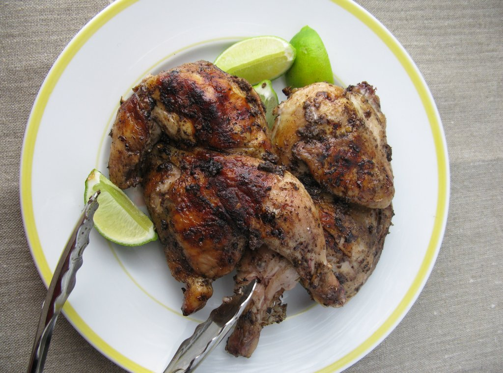 Fireplace Wood Grilled Jerk Game Hens