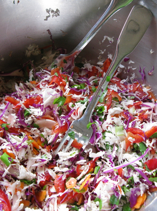 Asian Coleslaw before applying the dressing