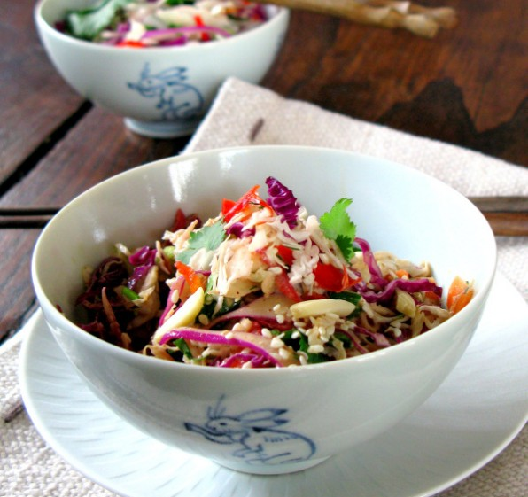 Asian Coleslaw with Cabbage, Carrots and Toasted Almonds