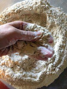 Irish wheaten bread rubbing in butter