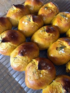 Pumpkin Rosemary Dinner Rolls cooling