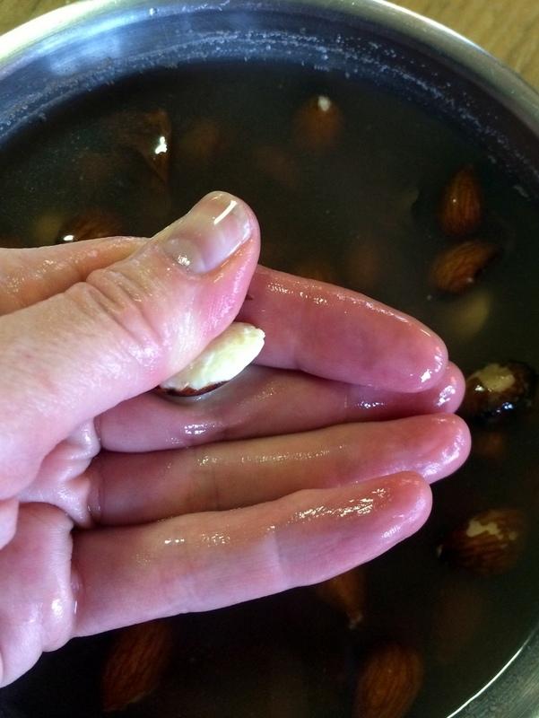 Peeling Almonds after Soaking