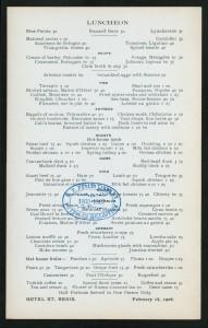 Hotel St Regis 1906 MENU