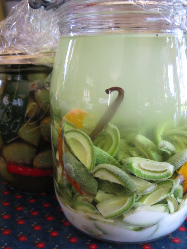 Green Almonds with sugar for liqueur