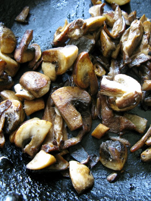 Browning the mushrooms