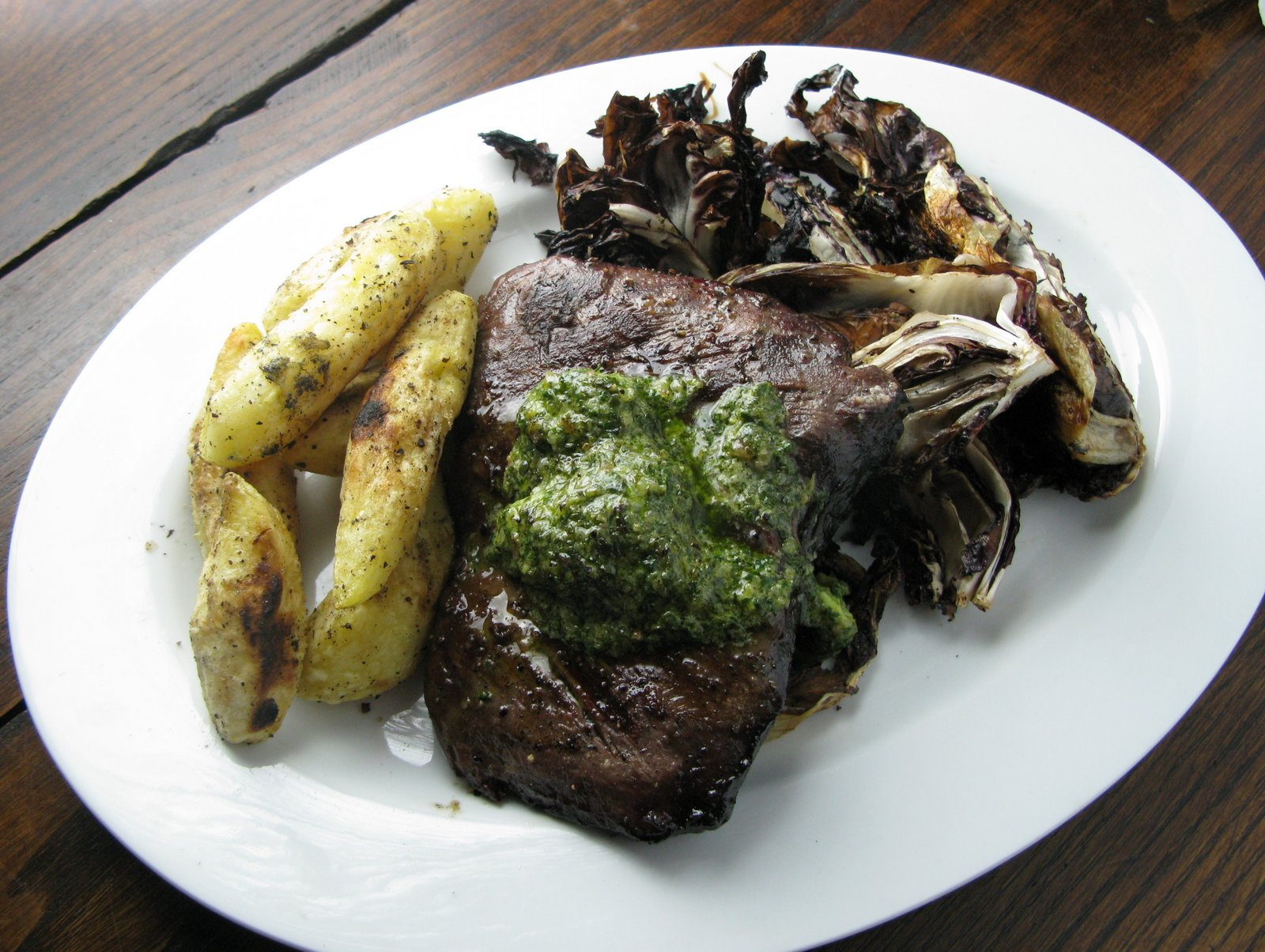 Wood Grilled Hanger Steak, Green Anchovy Butter, Grilled Radicchio