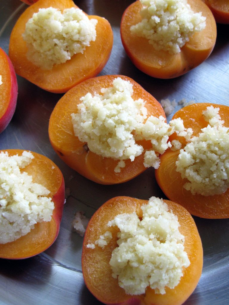 Apricots filled with almond paste filling
