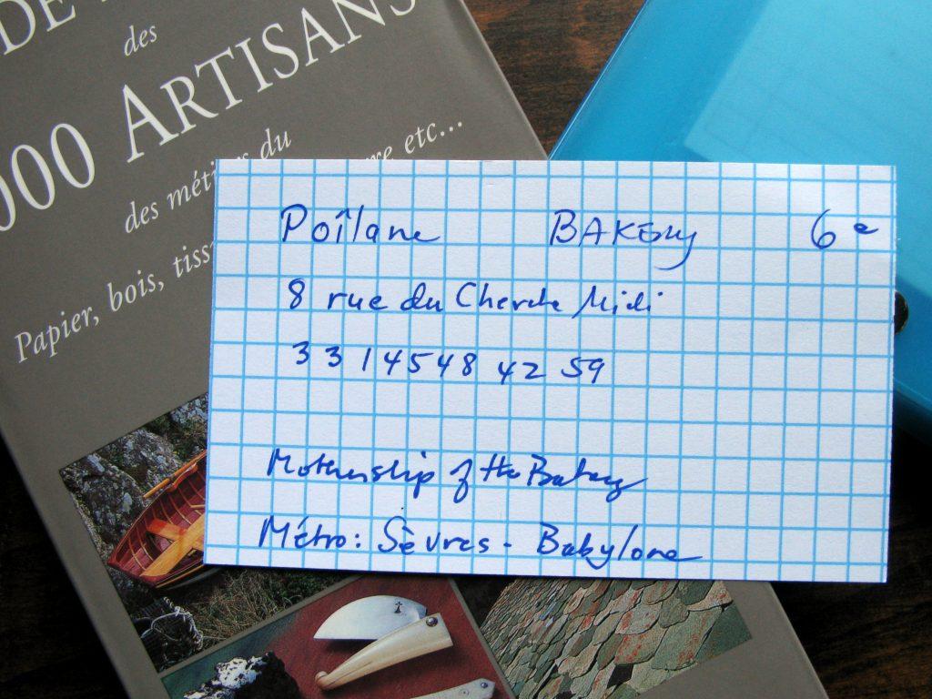 Poilane Bakery Index Card