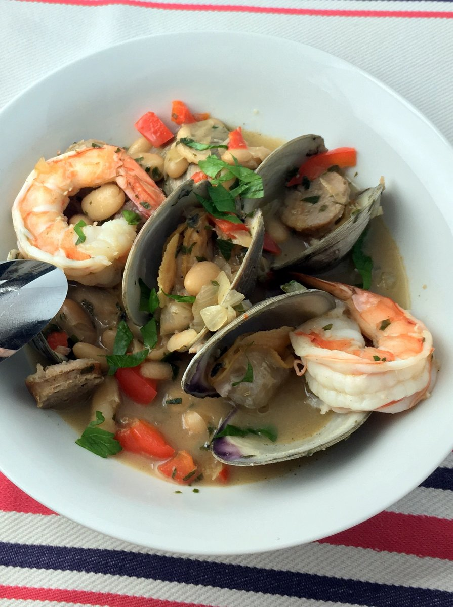 Clam, Shrimp and Sausage Stew with White Beans