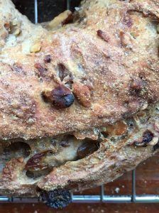 Golden Raisin Walnut Crown Loaf closeup