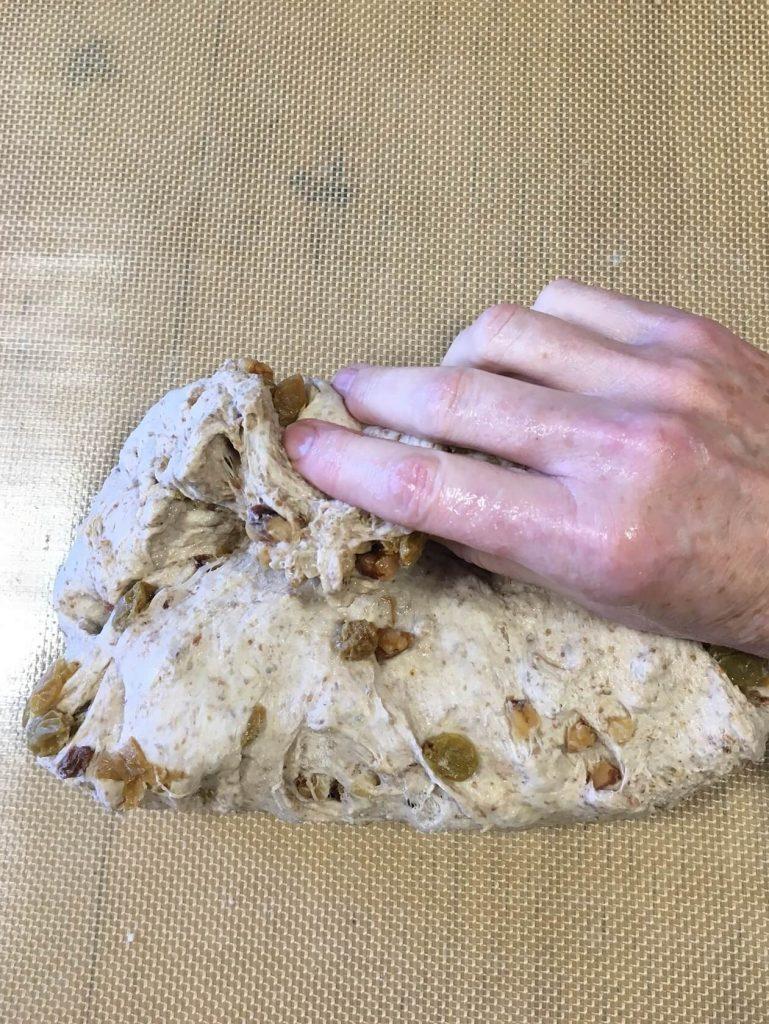 Golden Raisin Walnut Crown Loaf fold the bottom up