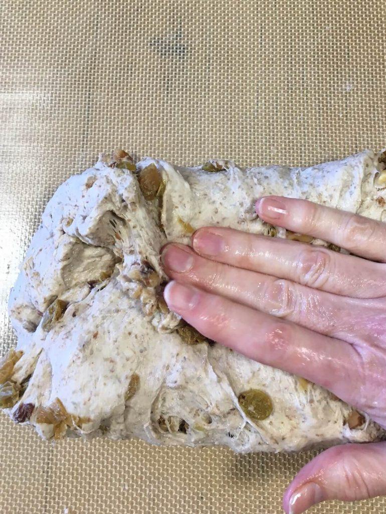 Golden Raisin Walnut Crown Loaf fold down the top