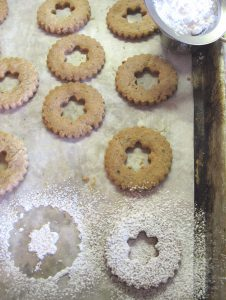Cutting out Linzer Torte Cookie