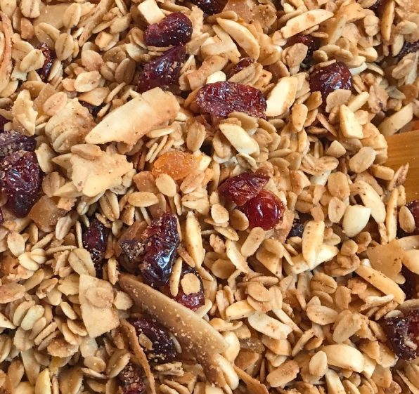 Homemade Almond, cherry coconut granola