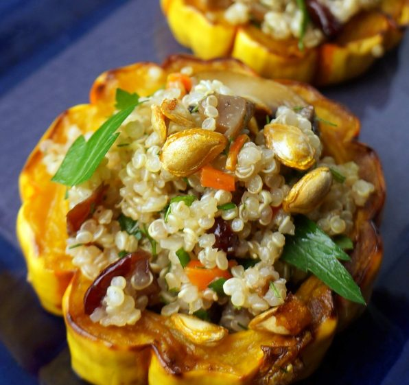 Roasted Squash Rings Stuffed with Quinoa Mushroom Salad is a good dish for a Thanksgiving buffet. Cook the squash rings and make the quinoa salad a couple of days ahead.