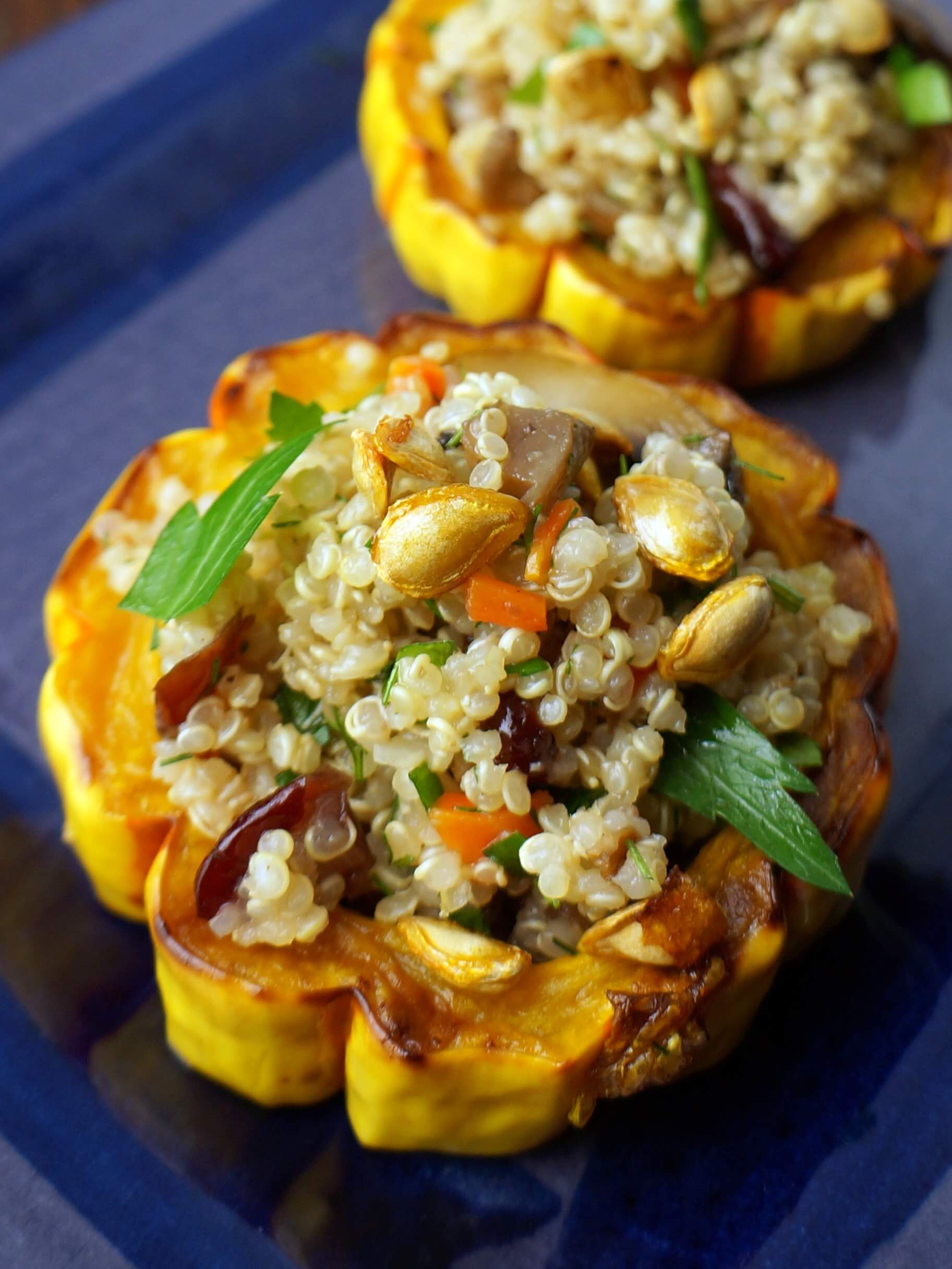 Roasted Squash Rings Stuffed with Quinoa Mushroom Salad