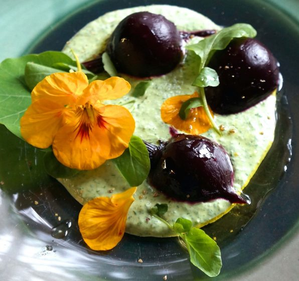 Roasted Baby Beets with Watercress Yogurt Sauce