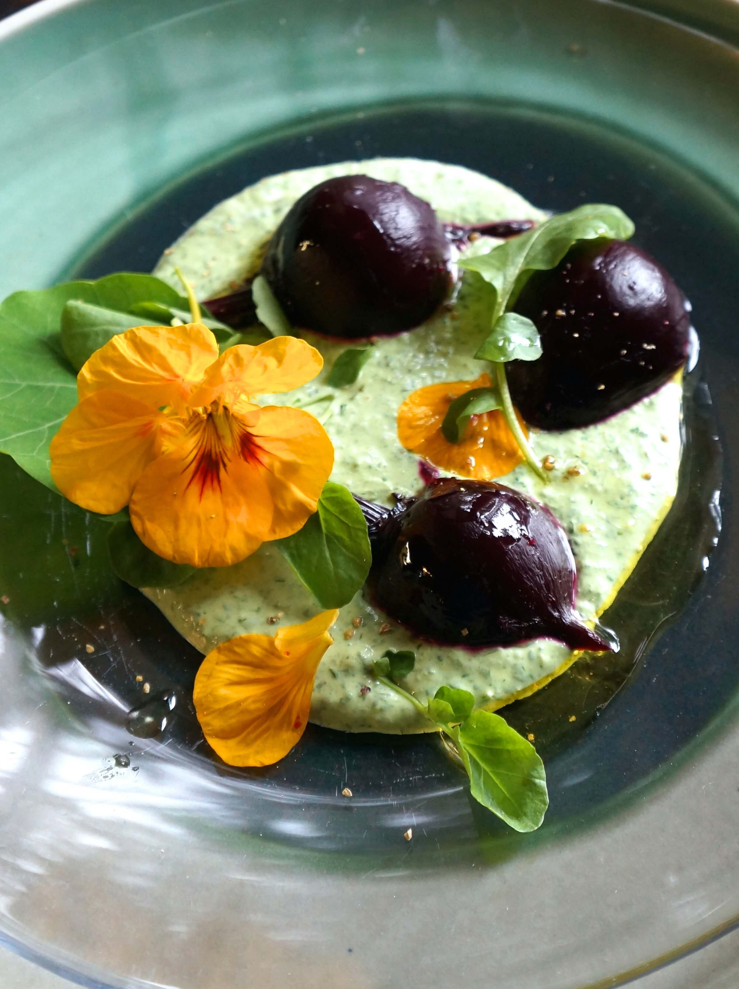 Roasted Baby Beets with Watercress Yogurt Sauce