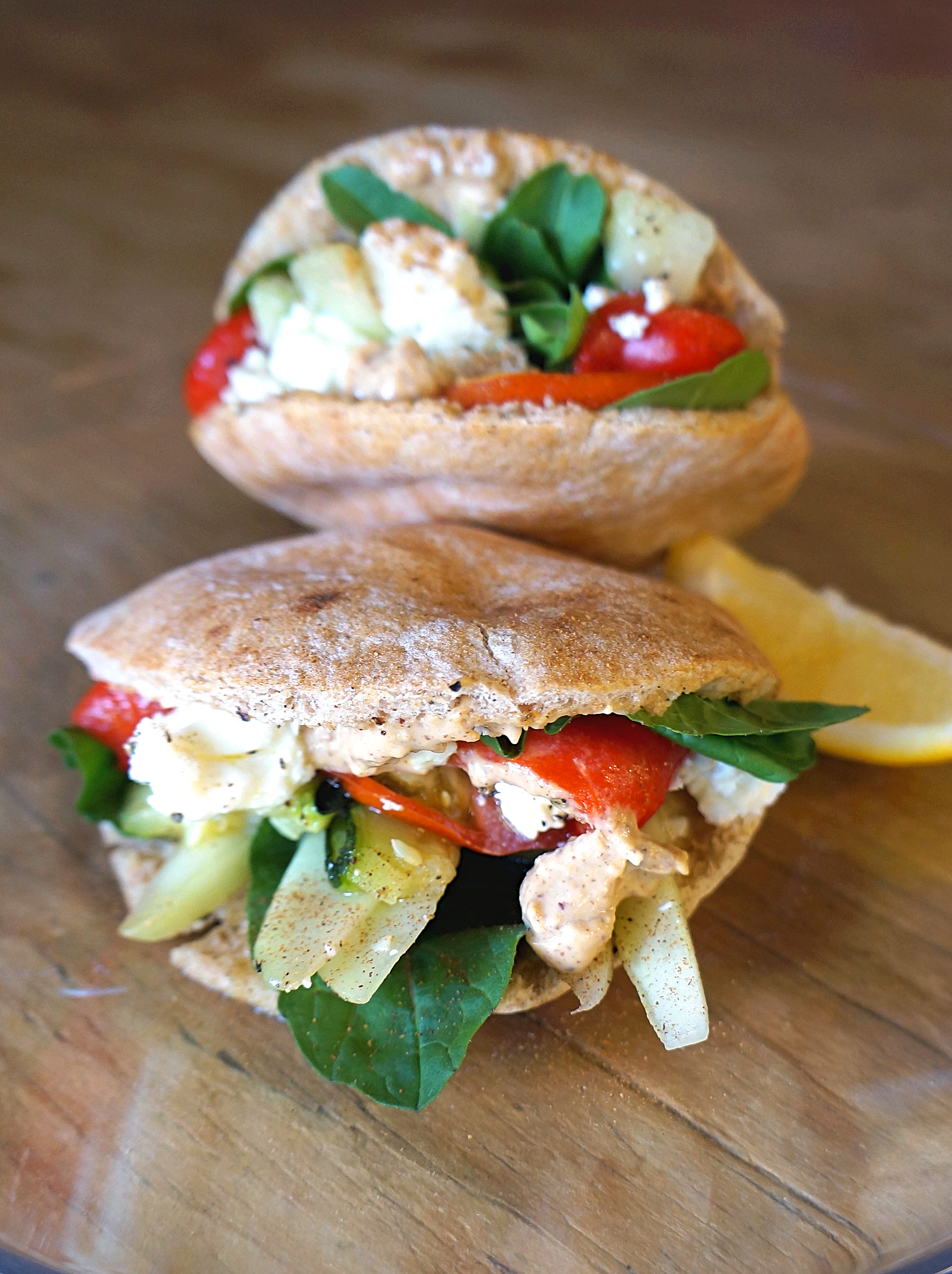 Roasted Vegetable, Almond Butter Hummus and Feta Pita