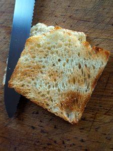 Slicing toast in half