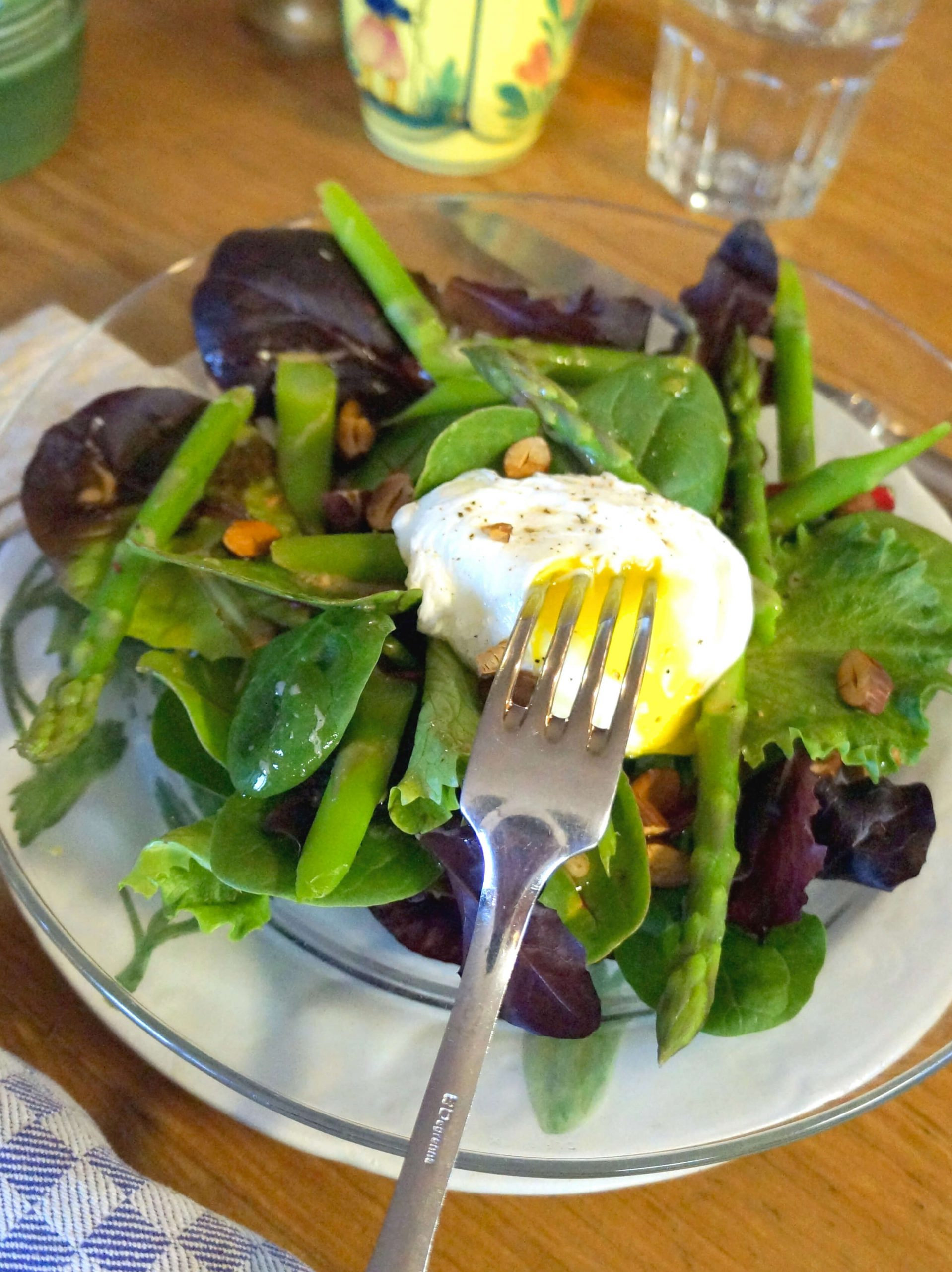 Asparagus, Roasted Almond and Poached Egg Breakfast Salad