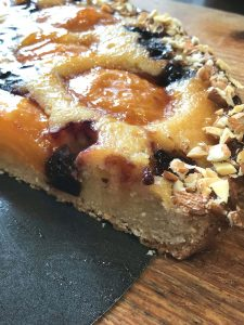 Apricot Cherry Frangipane Tart close up filling