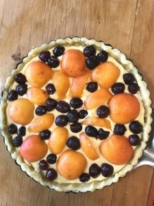 Apricot Cherry Frangipane Tart close up uncooked whole
