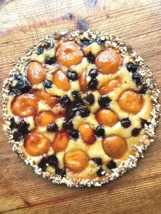 Apricot Cherry Frangipane Tart close up whole