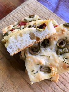 Olive Rosemary Focacca sliced cell structure