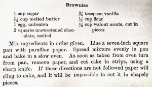 Fannie Farmer 1929 Brownie Recipe