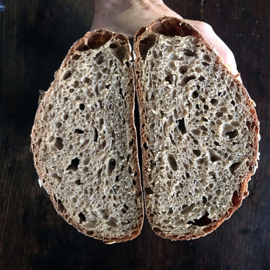 Stout Bread sliced in half