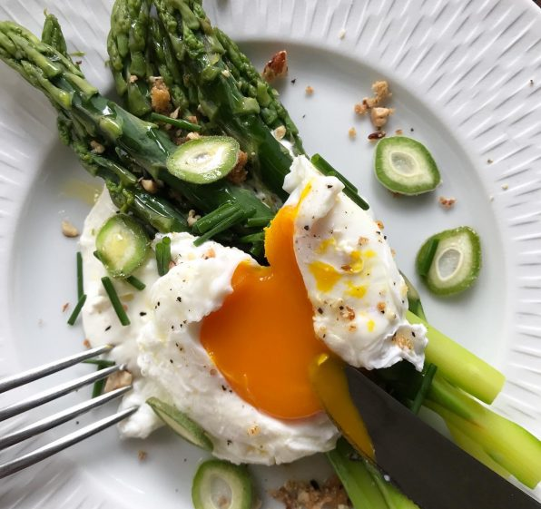 Asparagus, Whipped Feta, Poached Egg with Green Almonds and Almond Crumble