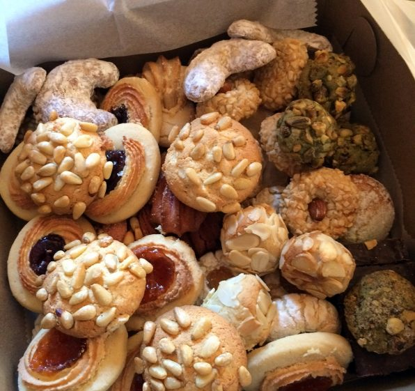 A box of Italian cookies from NY Old World Italian Bakery tour