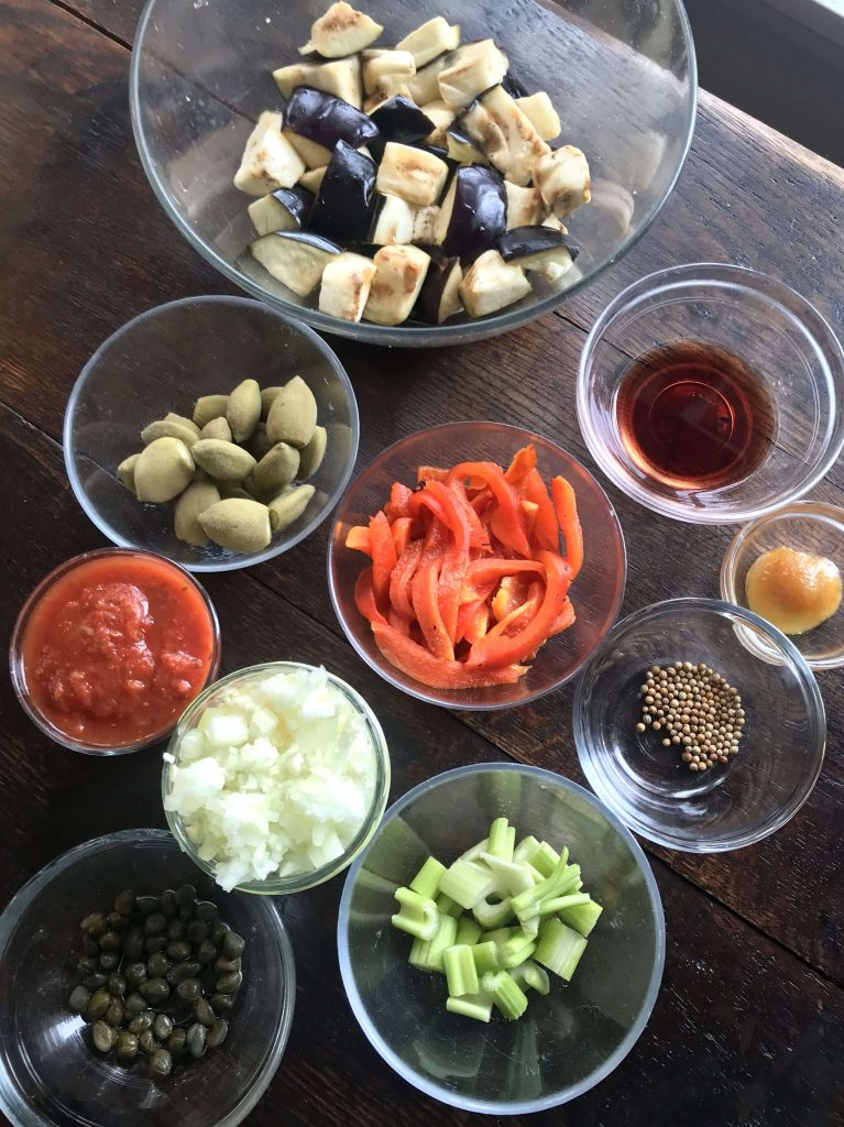 Agro Dolce Green Olive and Eggplant Caponata mise en place