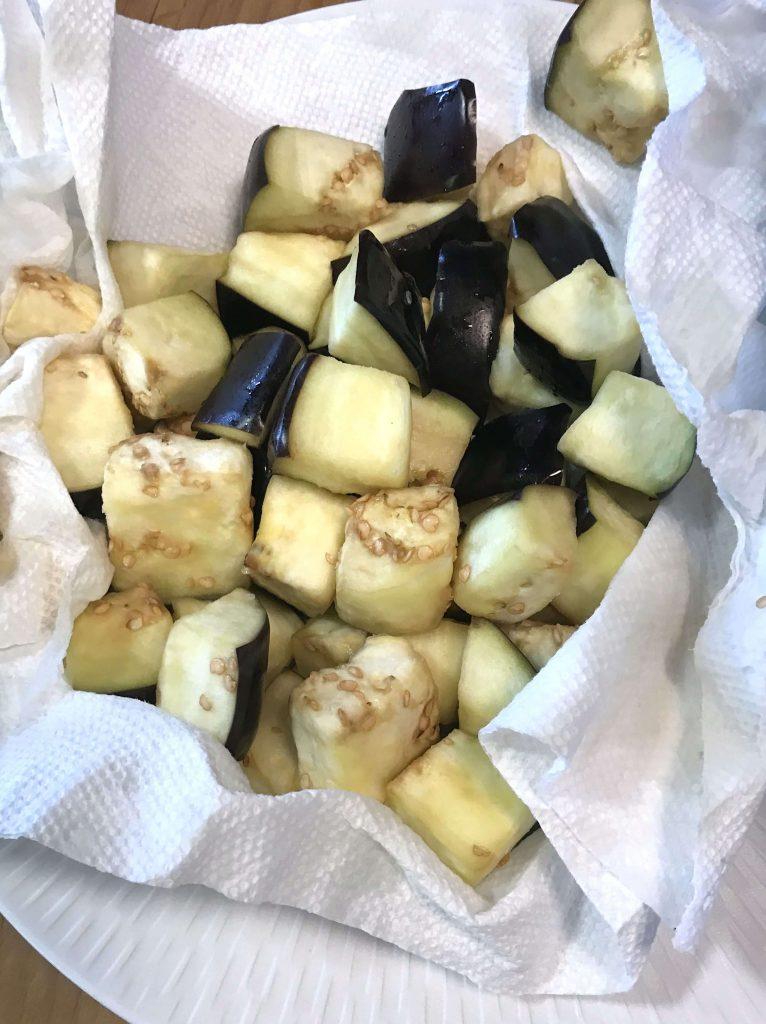 Drying eggplant cubes